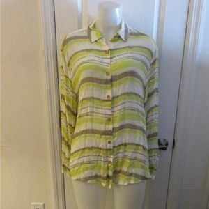SAM & LAVI WHITE,LIME,TAUPE LONG SLEEVE TOP M